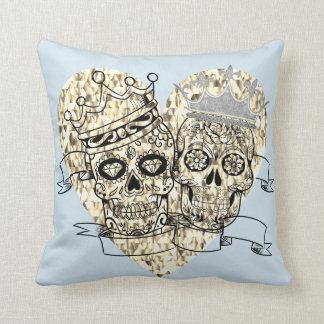 Almofada Seu e dela crânios do açúcar com travesseiro