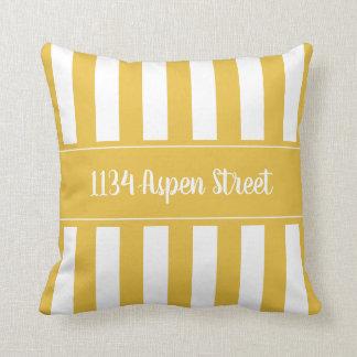 Almofada Seu travesseiro decorativo listrado da mostarda