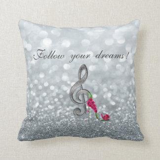 Almofada Siga seus sonhos, Glittery, saltos, chave Violine