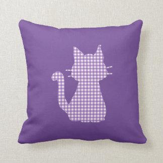 Almofada Silhueta roxa do gato do guingão