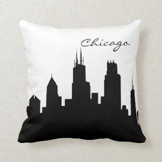 Almofada Skyline preto e branco de Chicago