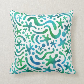 Under the Sea Funky Blob & Squiggle Pattern Pillow