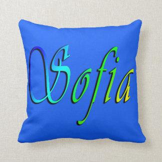 Almofada Sófia, nome, logotipo, coxim azul do lance