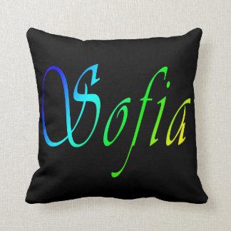 Almofada Sófia, nome, logotipo, coxim preto do lance