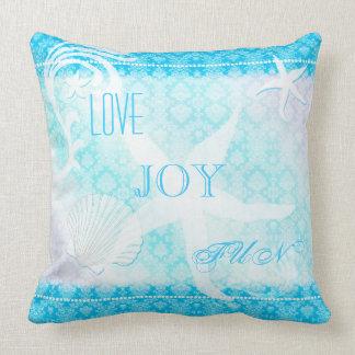 Almofada Sonhando a casa de praia azul do damasco da