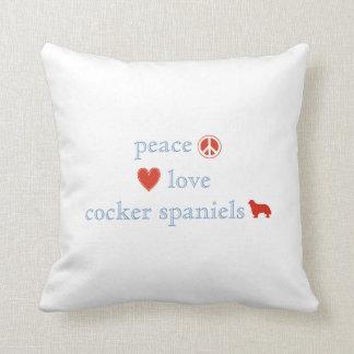 Almofada Spaniels de Cocker do amor da paz