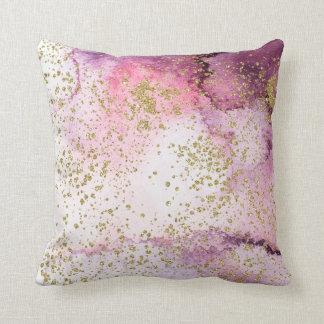 Almofada Splatter cor-de-rosa e roxo do ouro da lavagem da