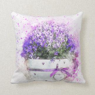 Almofada Splatter da pintura do flowerpot das flores da