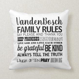 Almofada Suas regras da família do nome de família & data