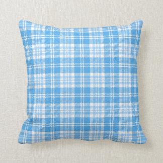 Almofada Tartan azul e branco