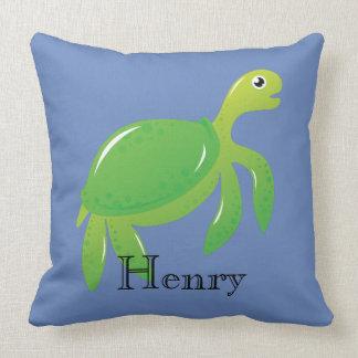 Almofada Tartaruga de mar verde personalizada no