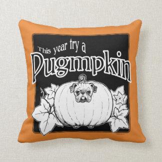 Almofada Tente um Pugmpkin! Travesseiro decorativo