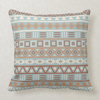 Almofada Terracottas de creme azuis do teste padrão asteca