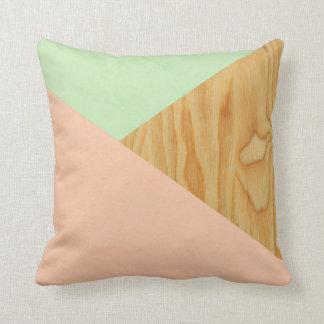 Almofada Teste padrão abstrato da madeira e do Pastel