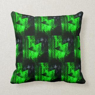 Almofada Teste padrão abstrato geométrico verde e preto
