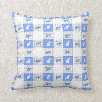 Almofada Teste padrão azul do gato do tabuleiro de damas