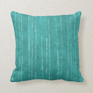 Almofada Teste padrão azul e branco do Aqua da listra