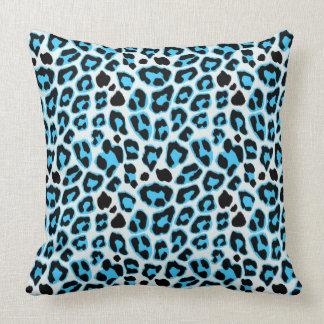 Almofada Teste padrão azul & preto do impressão do leopardo