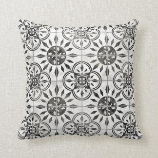 Almofada Teste padrão branco do azulejo do preto rústico