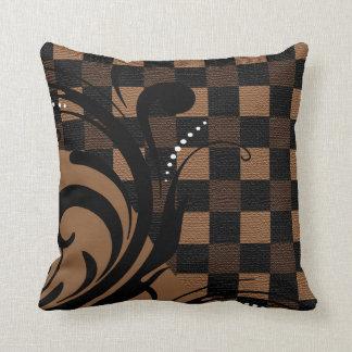 Almofada Teste padrão Checkered | Brown de Swirly, Tan,