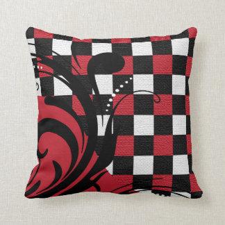 Almofada Teste padrão Checkered | de Swirly vermelho,