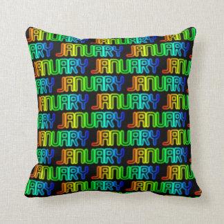 Almofada Teste padrão colorido da tipografia do arco-íris