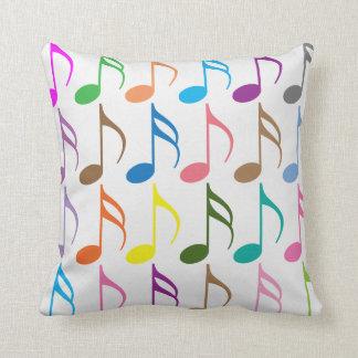 Almofada Teste padrão colorido das notas musicais