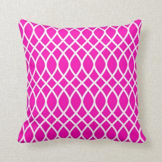 Almofada Teste padrão cor-de-rosa de néon da treliça