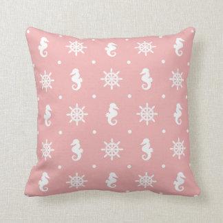Almofada Teste padrão coral cor-de-rosa náutico