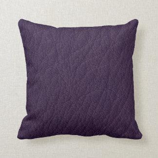 Almofada Teste padrão de couro malva roxo da textura do
