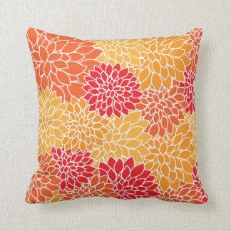 Almofada Teste padrão de flores colorido tropical vibrante
