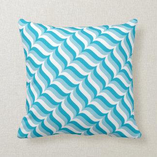 Almofada Teste padrão de ondas listrado diagonal azul e