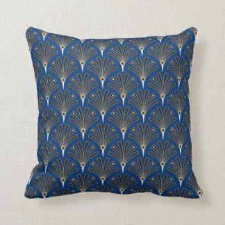 Almofada Teste padrão do fã do art deco em azuis marinhos