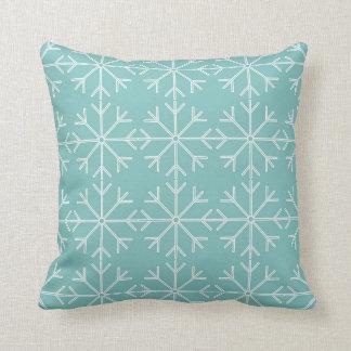 Almofada Teste padrão do floco de neve - azul e branco