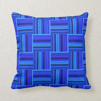 Almofada Teste padrão do weave das listras azuis