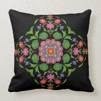 Almofada Teste padrão floral brilhantemente colorido de