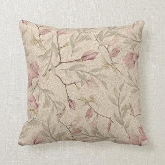 Almofada Teste padrão floral da aguarela do vintage malva &