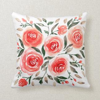Almofada Teste padrão floral rosa vermelha dos rosas da