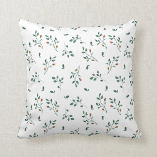Almofada Teste padrão floral verde branco delicado