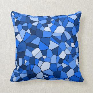 Almofada Teste padrão geométrico do mosaico azul moderno