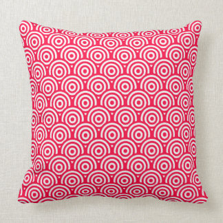 Almofada Teste padrão geométrico vermelho/rosa & o branco