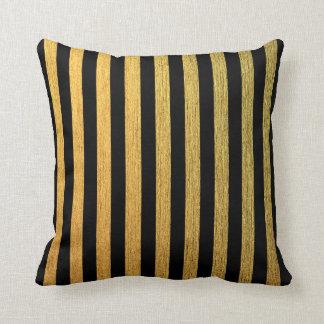 Almofada Teste padrão listrado preto dourado elegante