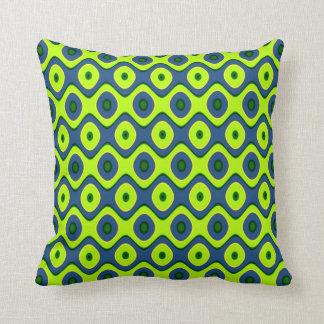 Almofada Teste padrão retro colorido azul e verde amarelo