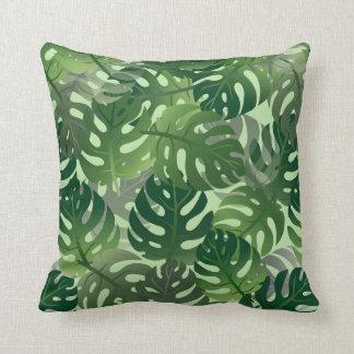 Almofada Teste padrão tropical em folha de palmeira