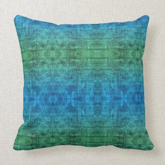 Almofada Teste padrão verde e azul da textura do inclinação