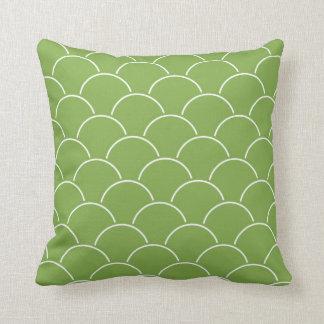 Almofada Teste padrão verde e branco da folha do Scallop