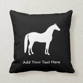 Almofada Texto customizável elegante do cavalo branco