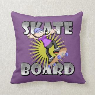 Almofada Texto do skate na cor cinzenta com patinagem do
