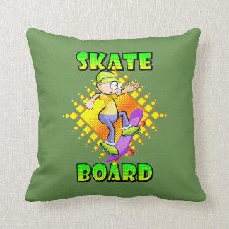 Almofada Texto do skate na cor verde com patinagem do