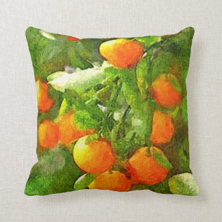 Almofada Textura, laranja & verde da aguarela da ÁRVORE